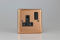 Varilight Polished Copper 1-Gang 13A Double Pole Switched Socket - XY4B.CU